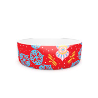 "Miranda Mol ""Frosted Red"" Blue Pet Bowl"