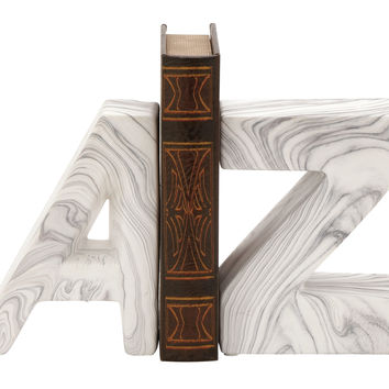 Chic Ceramic Marble Finish Bookend Pair 6In W 8In H