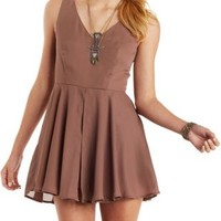 Rose Taupe Sleeveless Romper with Skirt Layer by Charlotte Russe