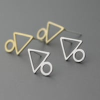 Triangle & Circle Earring Tri Force Earrings Triangle Geometry silver studs earrings  - Available color as listed ( Silver, Gold )