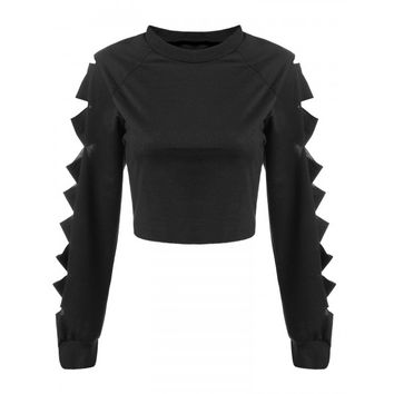 New Fashion Women Long Cut-off Sleeve Crop Tops Solid Casual Club Loose Short Tops