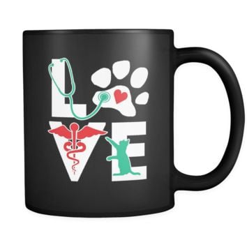 Love Cat mug - Vet Nurse coffee mug Veterinary coffee cup Black (11oz)