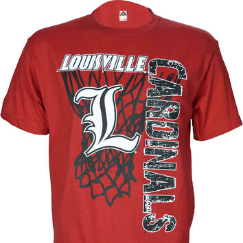 University of Louisville Super Net on Red T Shirt