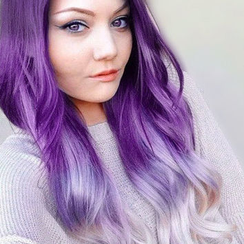 "Tape in Hair 18"" Galactic Ice 100% human hair extensions Purple White Ombre Dip Dye Straight"