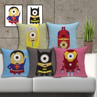 "18"" Minions Superhero Themed Cushion Covers"