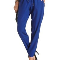Zipper Pocket Drawstring Trousers by Charlotte Russe