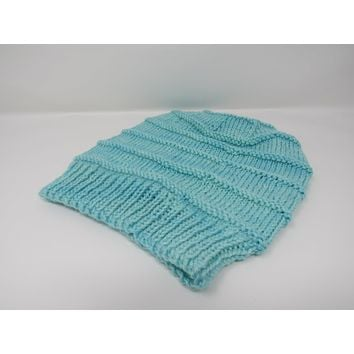 Handcrafted Knitted Hat Beanie Light Teal Textured Merino Cashmere Female Adult -- New No Tags