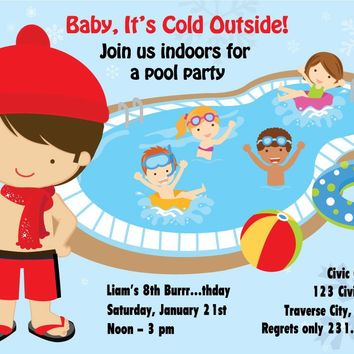 Boys Indoor Pool Party Birthday Invitation