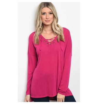 Always Adorable, V Neck Lace Up Magenta Tunic Top