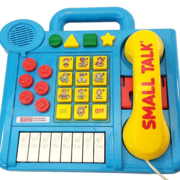 VTech Small Talk Vintage 80s Toy, Electronic Talking Telephone Interactive Educational Learning Childs Toy, Play Phone, Teach Shapes Numbers