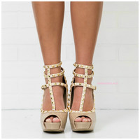 Spring Stroll Natural Studded Peep Toe Strappy Heels