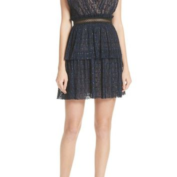 Self-Portrait Metallic Stripe Tie Strap Dress | Nordstrom