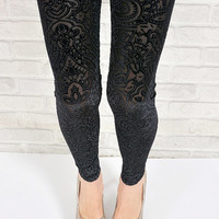 Black velvet sexy hollow floral leggings pantyhose lace sheer vintage flower slim skinny fit pants tights one size S M (LGN-020)