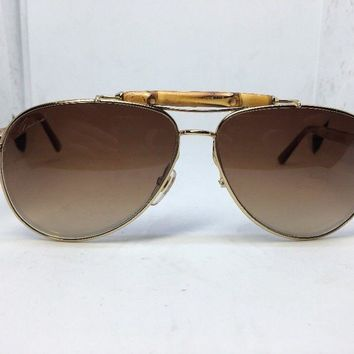 GUCCI 4240 Bamboo Brown Brown Metal Aviator Sunglasses GG4240/S Unisex