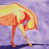 Watercolor Horse Painting , Limited Edition Print of Original Horse Painting , 8 x 10 Colorful Pop Art Horse Print