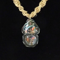 Tribal Hemp Spiral Necklace with Fimo Mushroom Top 20 Inch Necklace