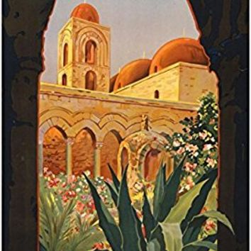 Palermo Sicily Tourism Travel Vintage Ad Poster Print 13 x 19in with Poster Hanger