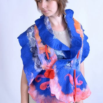 Nuno felt, capelet, drawstring scarf in pink & blue - multifunctional, adjustable, flounce, ruffle, wavy, wool and silk cape shawl [S98]