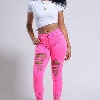 Neon Pink Ripped High Rise Skinny Jeans