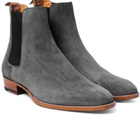 Handmade Men's fashion Gray Chelsea boots, Men gray chelsea suede leather boot
