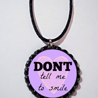 Don't Tell Me To Smile Necklace // Feminist bottle cap necklace