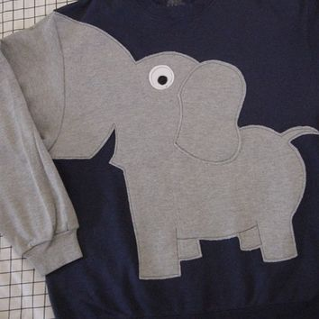 Elephant sweater, elephant sweatshirt, elephant Trunk sleeve shirt jumper unisex adult small  NAVY Blue