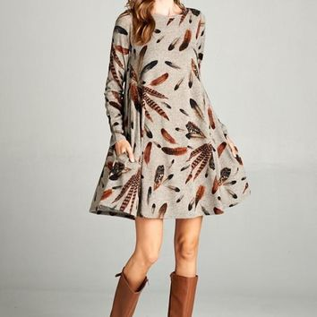 Feather Plumes Dress - Light Mocha