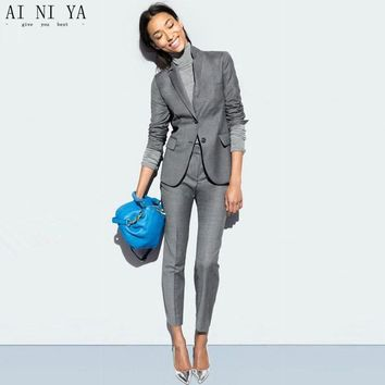Light Gray Women Business Suits Formal Office Long Sleeve Ladies Trouser Suit Casual Female Slim OL 2 Pieces Sets Blazers Custom