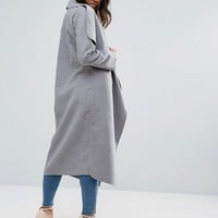 Missguided Gray Oversized Waterfall Duster Coat at asos.com