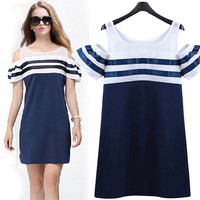 Summer Plus Size Women's Fashion Stripes Sexy Short Sleeve One Piece Dress [9229187724]
