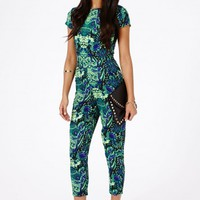 Missguided - Zyana Tropical Print Jumpsuit