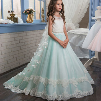 flower girl dresses pageant gowns graduation gowns children Vestido de nina de las flores free shipping