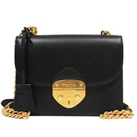 Prada Small Black Leather Small Chain Shoulder Bag with Gold Hardware 1BD070