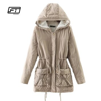 new 2017 winter women jackets cotton padded medium long slim hooded parkas casual wadded quilt snow outwear warm overcoat