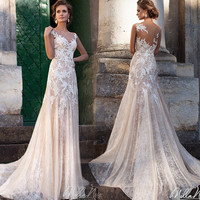 Romantic Sheer Back Lace Mermaid Wedding Dresses With Sleeveless 2017 Applique Illuaion Bridal Gowns Long Marriage