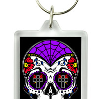 Sugar Skull Day of the Dead Keychain Dia De Los Muertos Key Ring