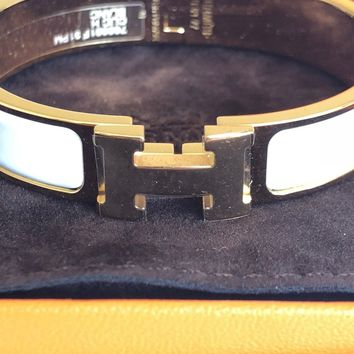 HERMES Clic H bracelet PM White/Yellow-Gold NEW IN BOX w/ receipt