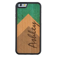 personalized minimalist design teal and brown carved® cherry iPhone 6 bumper case