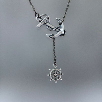 Anchor Ship Wheel Necklace by SBC, Ox Sterling Silver Plated Brass Anchor, Gunmetal Chain, Sideways Anchor, Sailor Necklace, Ahoy