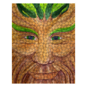 Green Man - 252 Piece Puzzle of Pagan God Watercolor Pencil Fine Art