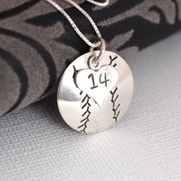 Hand-Stamped Baseball or Softball Necklace with Heart Charm stamped with Number
