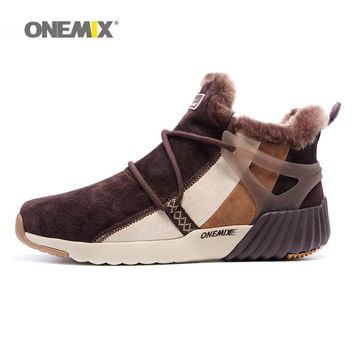 ONEMIX New Winter Men's Boots Warm Wool Sneakers Outdoor Unisex Running Shoes Comfortable Athletic Sport Shoes
