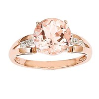9.0mm Morganite and Diamond Accent Ring in 14K Rose Gold - Size 7 - View All Rings - Zales