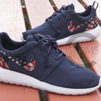 American Flag Pride Nike Roshe Run Navy Blue Custom Men, Women & Kids