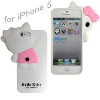 New 3D Hide-Seek Hello Kitty Cute lovely Soft Case Cover for iPhone5 5G, White