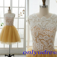 Elegant yellow homecoming dress, scoop homecoming dress on sale, affordable a-line homecoming dress, tulle homecoming dress  5107