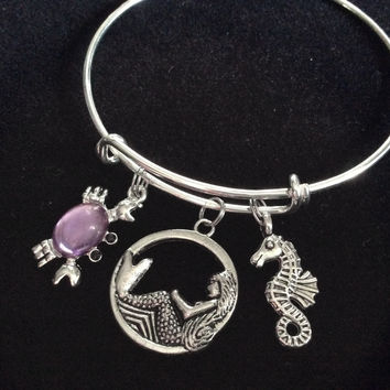 Mermaid Seahorse and Purple Crab on a Silver Adjustable Bangle Charm Bracelet Expandable Nautical Trendy Meaningful Inspirational