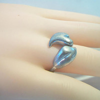Avon Double Heart Bypass Ring Size 7 Silver Tone Costume Jewelry Fashion Accessories For Her