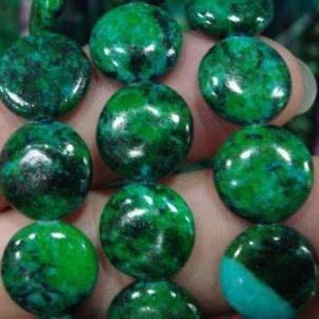 12mm Azurite Chrysocolla Coin Beads
