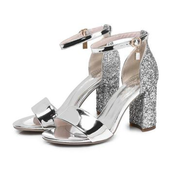 Bling Party Summer Shoes PU Women Sandals Square High Heel Sandals Rhinestone Peep Toe Wedding Shoes
